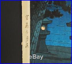 Japanese Woodblock Print NIGHT SCENE AT MIYAJIMA SHRINE by Kawase Hasui