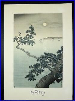 Japanese Woodblock by Tsuchiya Koitsu Akashi Beach Watanabe seal