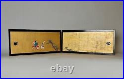 Japanese antique signed small painted paper door set dated 1915 PP 20