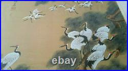 Large Beautiful Original Japanese Chinese Oriental Painting Silk Cranes Huajing