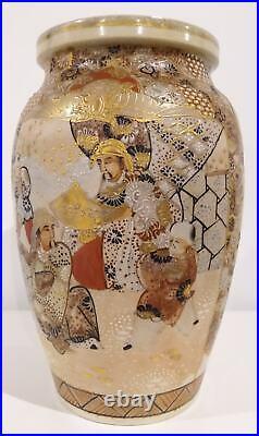 Large Japanese Antique Hand-painted Meiji Period Satsuma Vase Decorated Warriors