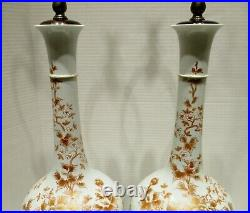 Large Opposing Pair Japanese Hand Painted Porcelain Vases mounted as Lamps 1950s