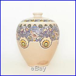 Large Porcelain Vase Enameled Etched Floral Motif Hand Painted American Satsuma