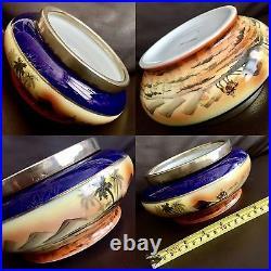 Large Rare Antique Japanese Noritake Hand Painted 8/20cm Porcelain Rose Bowl