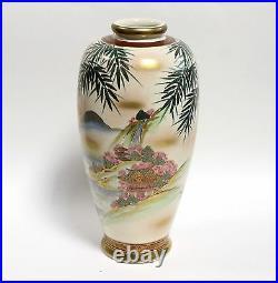 Large Satsuma Vase Hand Painted Waterfall Scene Rust Gold Trim Circa 1920