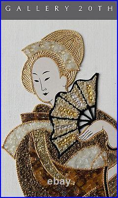 MID Century Modern Japanese Mosaic! Asian 50s Vtg Wall Art Geisha Painting Retro