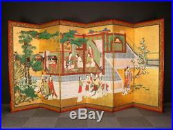 Nw1284rtbFk1 Japanese Gold Folding Screen CHINESE BEAUTY Late-Edo