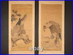 Nw1700tjYm6 Japanese hanging scroll HAWKS ON A PINE TREE Edo period