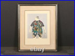 Nw1726cySb9 Japanese framed lithographic print SAMURAI WITH TATTOO, TAKEDA HIDEO