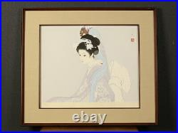 Nw1741rrEa9 Japanese framed woodblock print BEAUTY & SHISHIMAI, SHIMURA TATSUMI