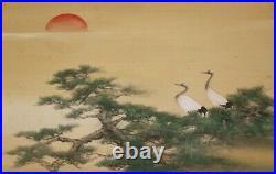 ORIGINAL JAPANESE ART PAINTING CRANE HANGING SCROLL OLD JAPAN Antique 831h