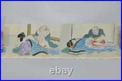 ORIGINAL Japanese Art Shunga 12 Pictures Erotic Hand Paint UKIYOE Silk