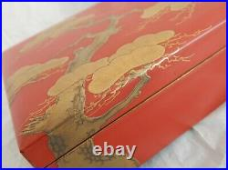 Original Antique Japanese Meiji Period Hand Painted Red & Gold Lacquer Table Box