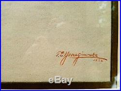 Original Antique Japanese Pre-War Watercolor Signed T. E. YANAGIWARA 1922