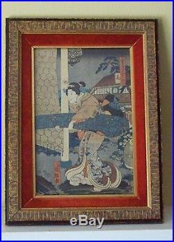Original Utagawa Japanese Original Woodblock Print With Custom Framed
