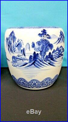 Pair Antique Japanese Blue And White Porcelain Jars Hand Painted