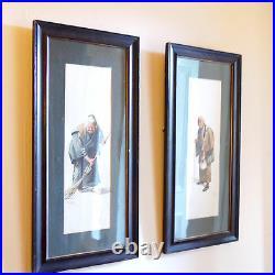 Pair Framed Japanese Watercolours C1850 65cm tall. Signed S Hodo