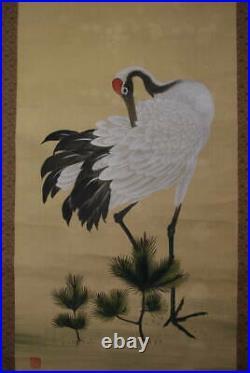 Pair JAPANESE ART PAINTING CRANE KAKEJIKU HANGING SCROLL OLD JAPAN Antique 482m