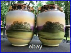 Pair of Hand Painted Nippon Porcelain Vases