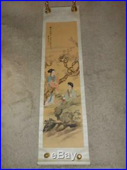 Rare Antique Japan Hanging Scroll Two Japanese Woman Flower Tree Scene Asian