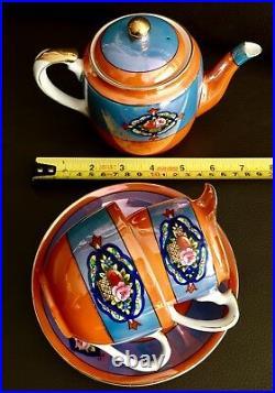 Rare Antique Japanese Hand Painted Noritake Lustre Ware Eggshell China Tea Set