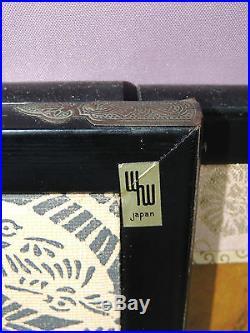 Rare Japanese 4-Panel (Signed) Folding Screen Byobu of Ancient Family Painting