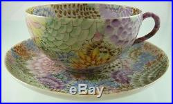 SATSUMA EGG SHELL TEA CUP & SAUCER HAND PAINTED MILLE FIORI CHRYSANTHEMUM 19TH a