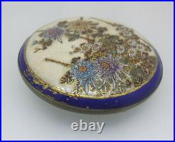 SATSUMA JAPANESE Antique buckle. Hand Painted flowers Porcelain c1900s
