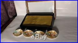 SET OF 4 ANTIQUE 19c JAPANESE MINIATURE HAND PAINTED SHELLSCOURT SCENEIN CASE