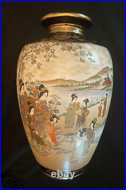 Satsuma Meiji period Large Hand Painted Porcelain Vase