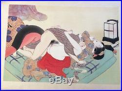 Set of 11 Original Japanese Taisho Period Erotic Shunga Paintings on Silk c1920