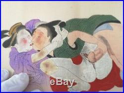 Shunga, 5 Japanese paintings on silk, ca. 1920