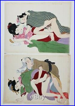Shunga Erotica, 12 Original Japanese Meiji Period, Paintings On Silk, Antique