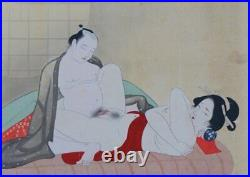 Shunga silk hand painting watercolor 1900s Japan Geisha craft