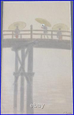 Signed Vintage Japanese Figures On Bridge Umbrella Painting Antique Landscape