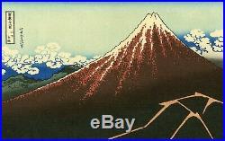 Striking HOKUSAI Japanese woodblock print THUNDERSTORM BENEATH THE SUMMIT
