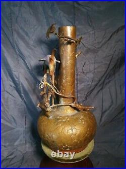 Superb Meiji Period Japanese Cold Painted Bronze Vase