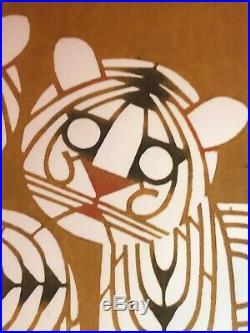 TOSHIJIRO NENJIRO INAGAKI (1902-1963) Japanese Woodblock TIGERS CATS 18X16.75