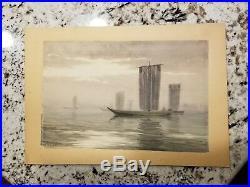 T. Kobayashi Japanese boats on water watercolor painting woodblock print