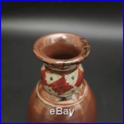 Tomoo Hamada Japanese Mashiko pottery Red painting Flower vase with box