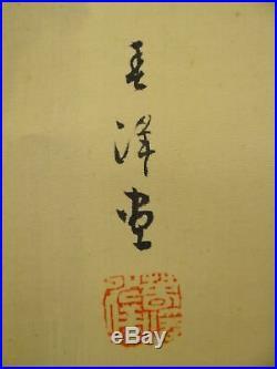 UK465 KAKEJIKU Waterfall Hanging Scroll Japanese Art painting Picture Geijyutu
