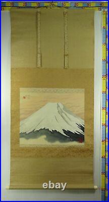 UK478 KAKEJIKU Mt. Fuji Hanging Scroll Japanese Art painting Picture Geijyutu