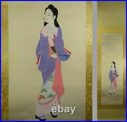 UK687 BIJINGA Beautiful Women Moon Kimono Hanging Scroll Japanese Art Picture