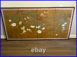 VTG 6FT Japanese Byobu Signed Hand Painted 4-Panel Silk Screen