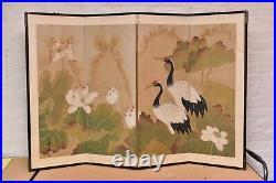 VTG Japanese Chinese 4 Panel Folding Screen Byobu Painted 54x35 antique SIGNED