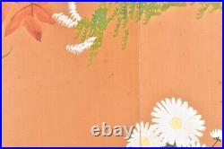 VTG Japanese Chinese 4 Panel Folding Screen Byobu Painted 59x35 antique Signed