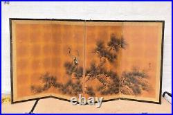 VTG Japanese Chinese 4 Panel Folding Screen Byobu Painted 61x21 antique Signed
