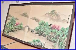 VTG Japanese Chinese 4 Panel Folding Screen Byobu Painted 72x36 antique SIGNED