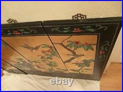 VTG Japanese Chinese 4 Panel Wall Art Hand Crafted decor Painted Antique