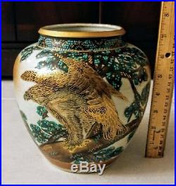 Vase Marked Kutani Matsu Tsuru  Antique Vintage old Japanese hand painted